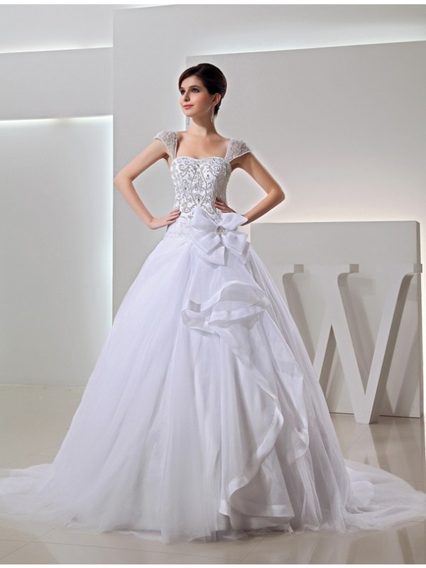 Ball Gown Beading Straps Sleeveless Chapel Train Organza Wedding Dresses
