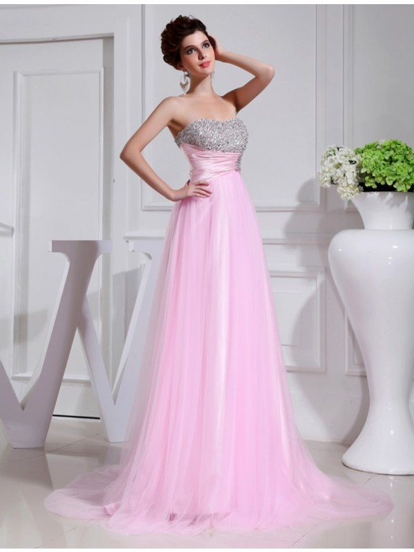 A-Line/Princess Beading Strapless Sleeveless Sweep/Brush Train Elastic Woven Satin Dresses