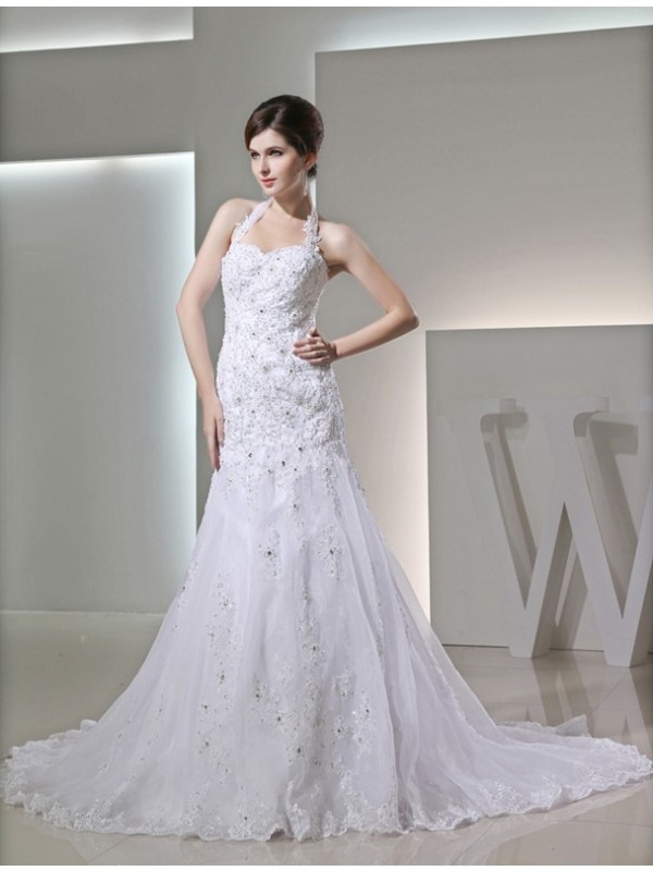 Trumpet/Mermaid Beading Halter Sleeveless Chapel Train Satin Wedding Dresses