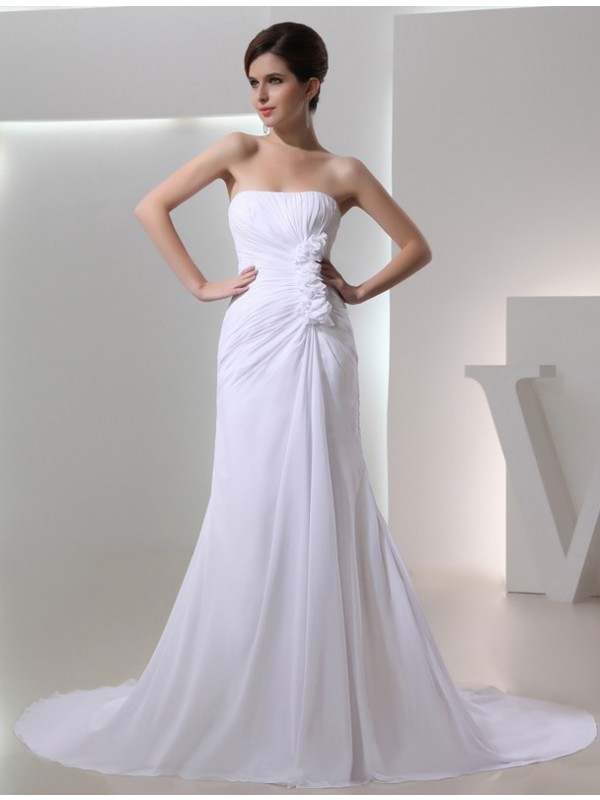 A-Line/Princess Beading Strapless Sleeveless Chapel Train Chiffon Wedding Dresses