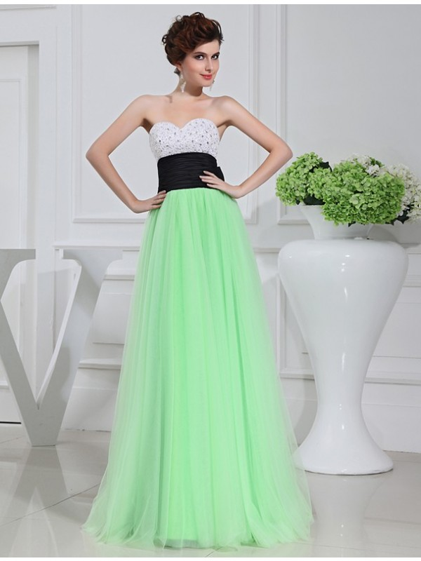 A-Line/Princess Beading Sweetheart Sleeveless Floor-Length Tulle Dresses