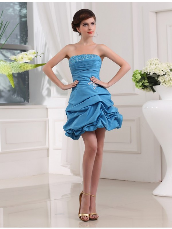 A-Line/Princess Beading Strapless Sleeveless Short/Mini Taffeta Dresses