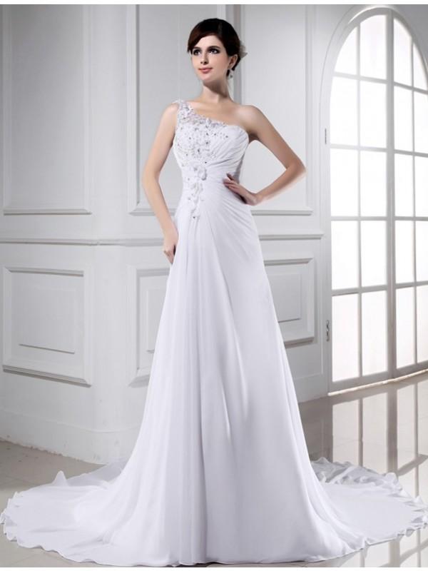 A-Line/Princess Beading One-Shoulder Sleeveless Chapel Train Chiffon Wedding Dresses