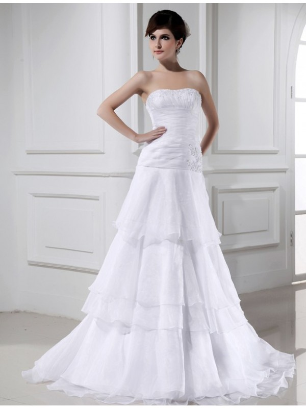 A-Line/Princess Beading Strapless Sleeveless Court Train Organza Wedding Dresses