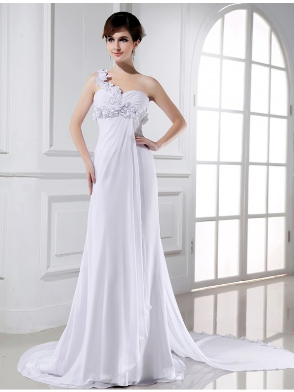 A-Line/Princess Beading One-Shoulder Sleeveless Court Train Chiffon Wedding Dresses