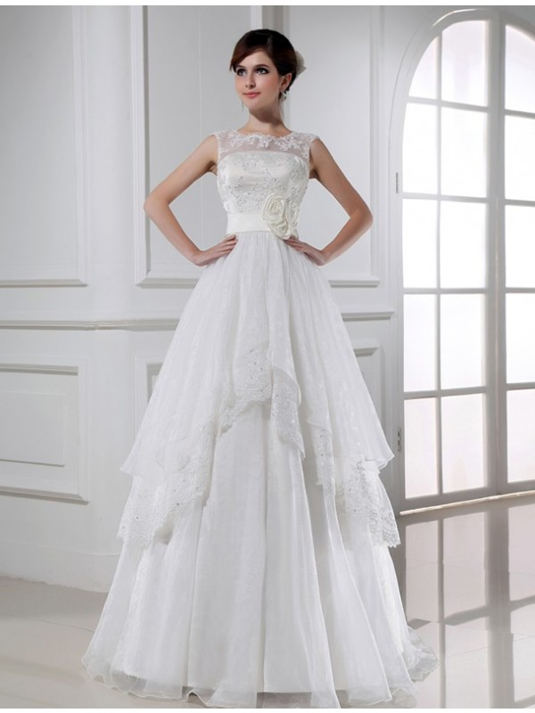 A-Line/Princess Beading High Neck Sleeveless Floor-Length Organza Wedding Dresses
