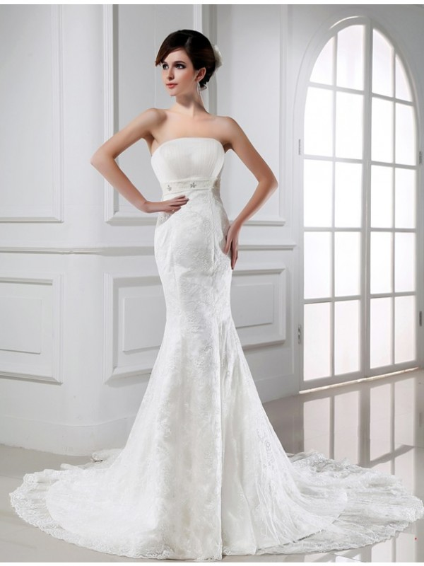 Trumpet/Mermaid Beading Strapless Sleeveless Chapel Train Tulle Wedding Dresses