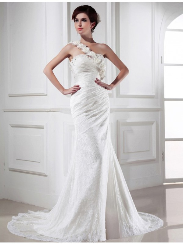 Trumpet/Mermaid Beading One-Shoulder Sleeveless Chapel Train Satin Wedding Dresses