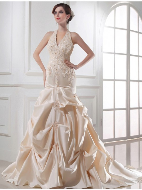 Trumpet/Mermaid Applique Halter Sleeveless Chapel Train Satin Wedding Dresses