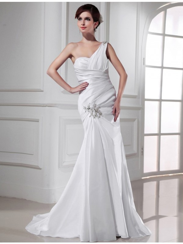 Trumpet/Mermaid Beading One-Shoulder Sleeveless Sweep/Brush Train Satin Wedding Dresses