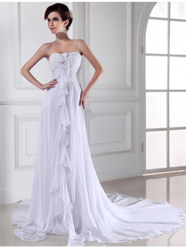 Sheath/Column Hand-Made Flower Sweetheart Sleeveless Chapel Train Chiffon Wedding Dresses