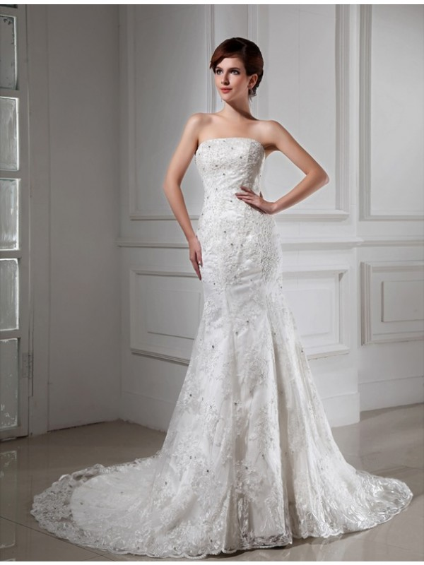 Trumpet/Mermaid Beading Strapless Sleeveless Chapel Train Satin Wedding Dresses