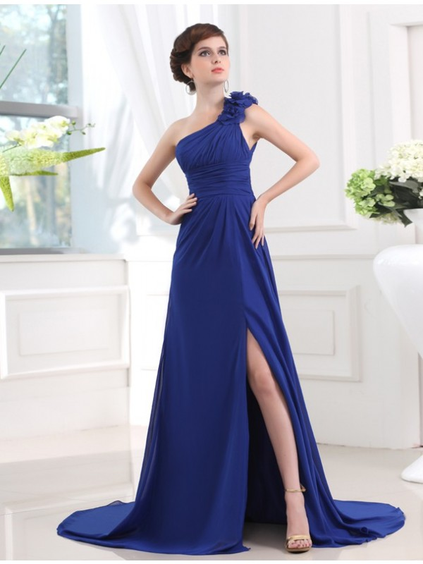 A-Line/Princess Hand-Made Flower One-Shoulder Sleeveless Sweep/Brush Train Chiffon Dresses