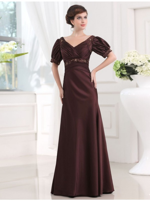 Sheath/Column Beading V-neck 1/2 Sleeves Floor-Length Satin Dresses