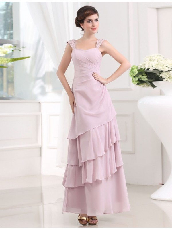 A-Line/Princess Beading Straps Sleeveless Ankle-Length Chiffon Dresses