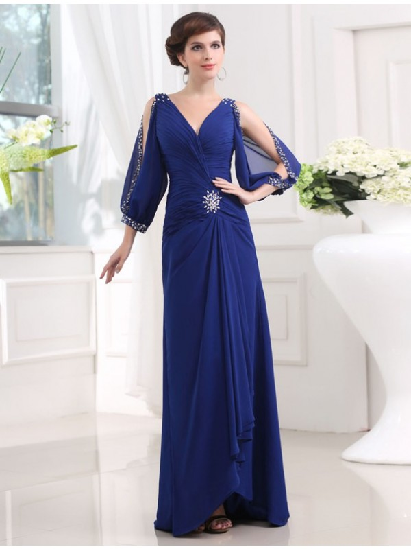 Sheath/Column Beading V-neck 3/4 Sleeves Floor-Length Chiffon Dresses