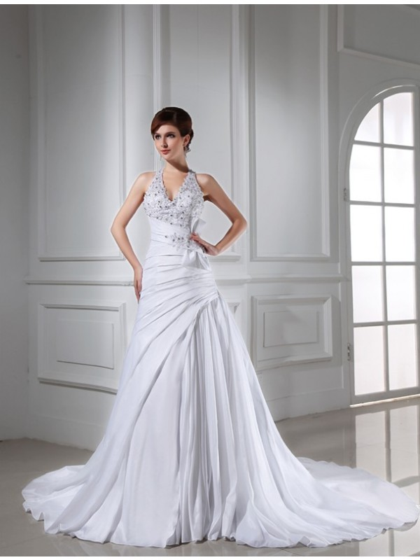 A-Line/Princess Beading Halter Sleeveless Chapel Train Taffeta Wedding Dresses