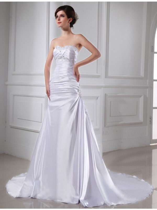 A-Line/Princess Beading Strapless Sleeveless Chapel Train Elastic Woven Satin Wedding Dresses