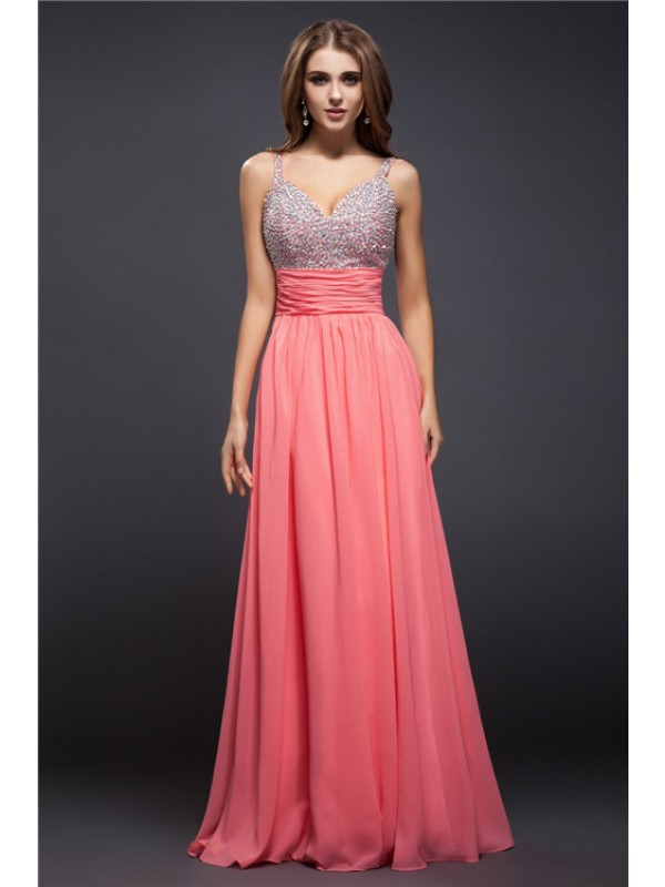 Sheath/Column Beading Spaghetti Straps Sleeveless Floor-Length Chiffon Dresses