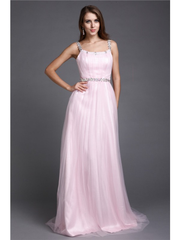 A-Line/Princess Rhinestone Spaghetti Straps Sleeveless Floor-Length Net Dresses