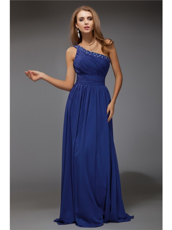 Sheath/Column Beading One-Shoulder Sleeveless Floor-Length Chiffon Dresses