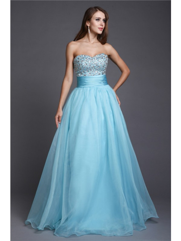 A-Line/Princess Beading Sweetheart Sleeveless Floor-Length Organza Dresses