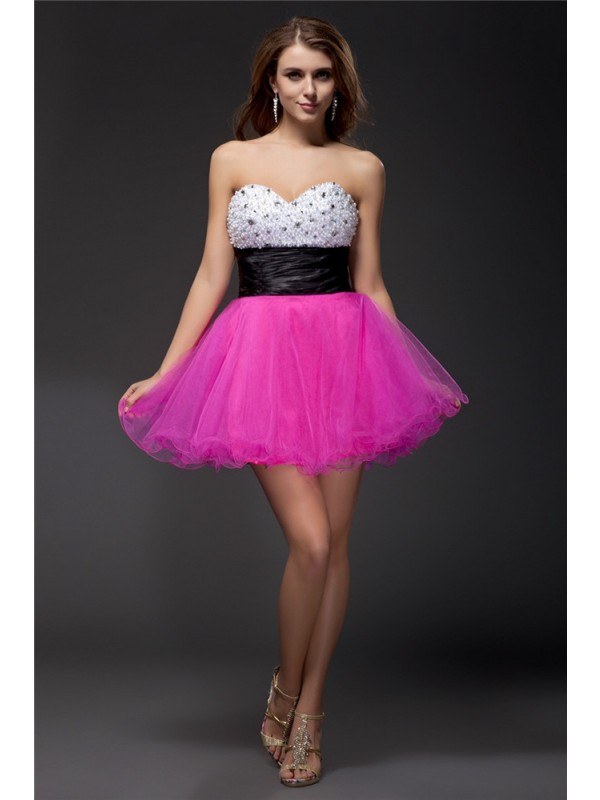 A-Line/Princess Beading Sweetheart Sleeveless Short/Mini Elastic Woven Satin Dresses