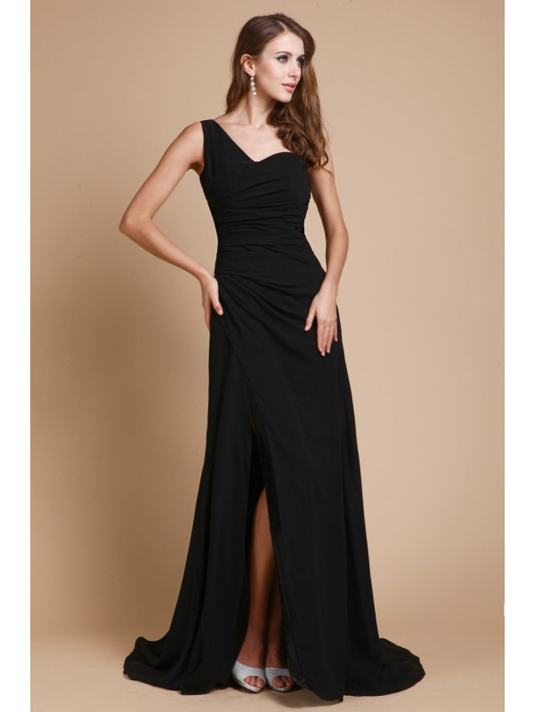 A-Line/Princess Ruffles One-Shoulder Sleeveless Sweep/Brush Train Chiffon Dresses