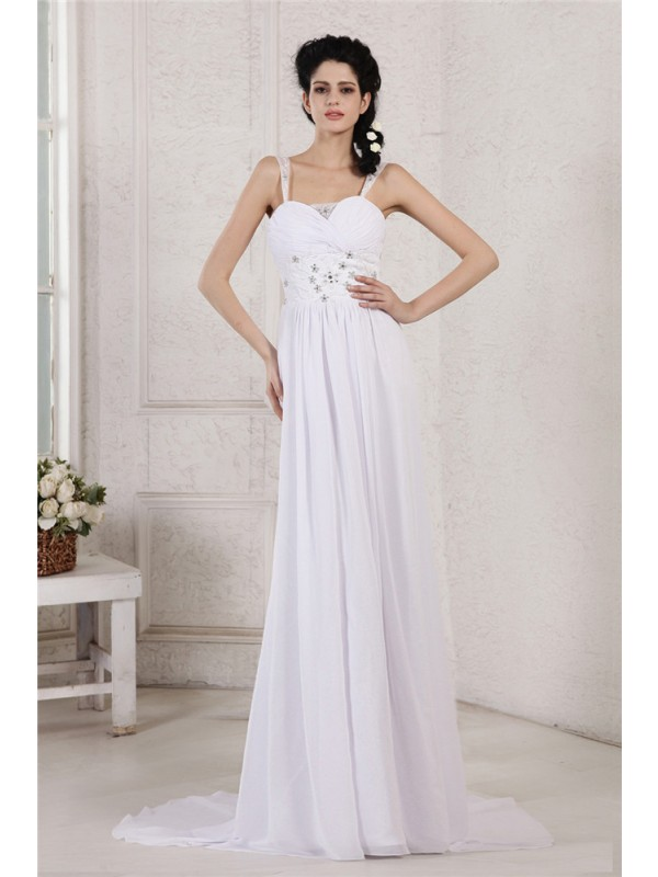 Sheath/Column Beading Spaghetti Straps Sleeveless Court Train Chiffon Wedding Dresses