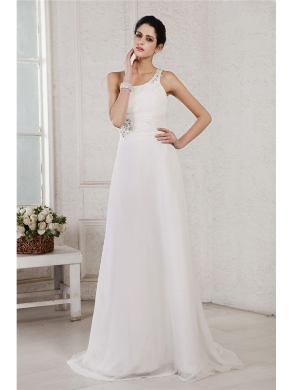 A-Line/Princess Beading One-Shoulder Sleeveless Sweep/Brush Train Chiffon Wedding Dresses