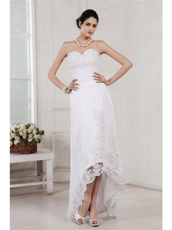 Sheath/Column Beading Sweetheart Sleeveless Asymmetrical Organza Wedding Dresses