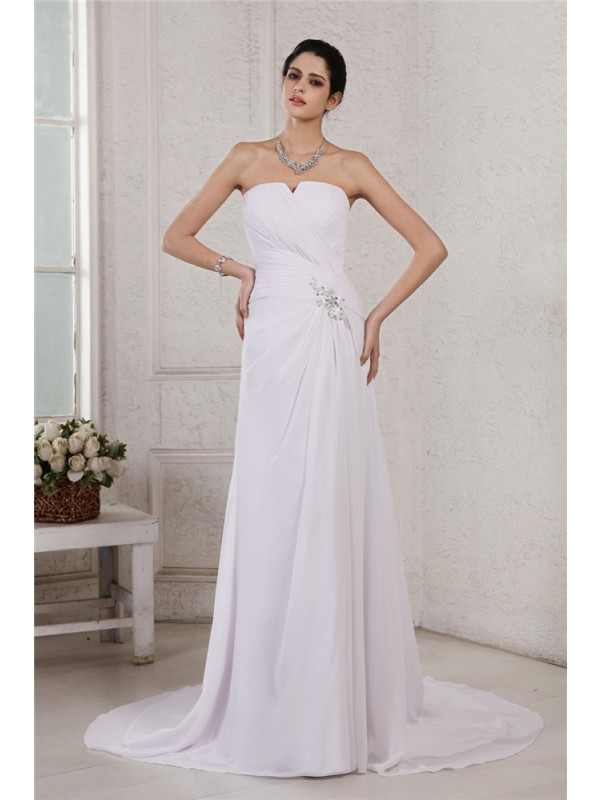 Sheath/Column Beading Strapless Sleeveless Court Train Chiffon Wedding Dresses