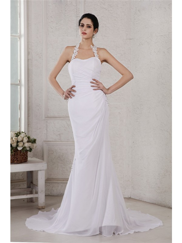 Trumpet/Mermaid Beading Halter Sleeveless Court Train Chiffon Wedding Dresses