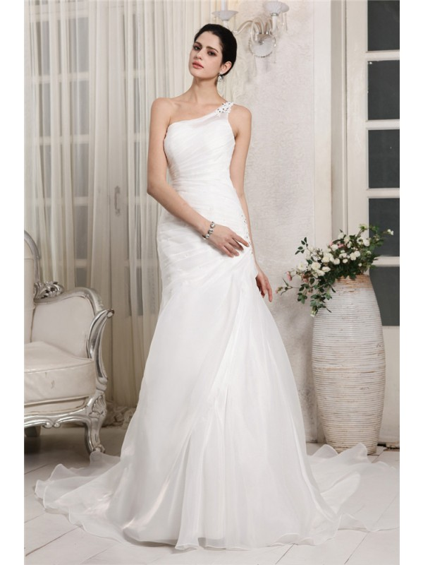 Trumpet/Mermaid Beading One-Shoulder Sleeveless Chapel Train Organza Wedding Dresses