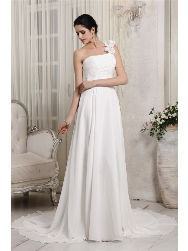 Sheath/Column Ruffles One-Shoulder Sleeveless Chapel Train Chiffon Wedding Dresses