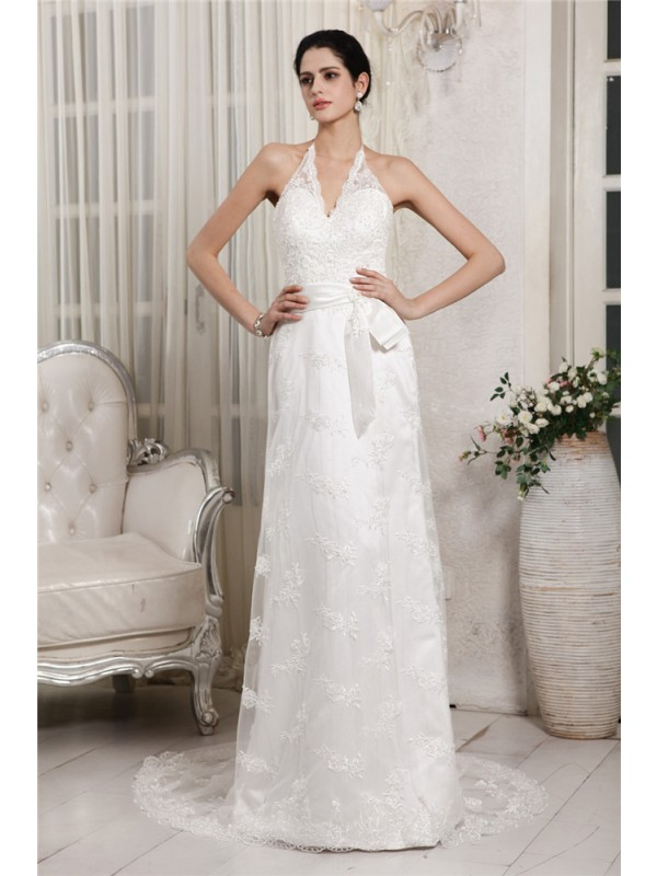 Sheath/Column Applique V-neck Sleeveless Sweep/Brush Train Net Wedding Dresses