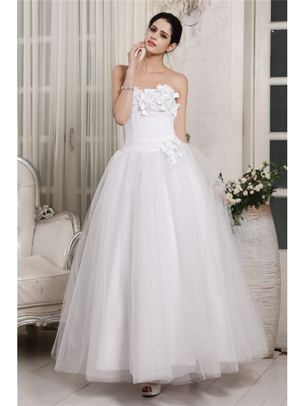 Ball Gown Beading Sweetheart Sleeveless Ankle-Length Organza Wedding Dresses