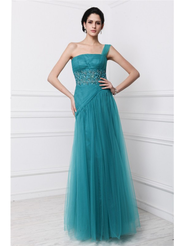 Sheath/Column Beading One-Shoulder Sleeveless Floor-Length Net Dresses