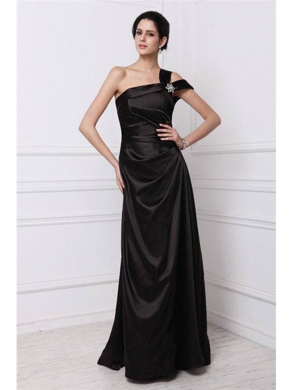 Sheath/Column Beading One-Shoulder Sleeveless Floor-Length Elastic Woven Satin Dresses