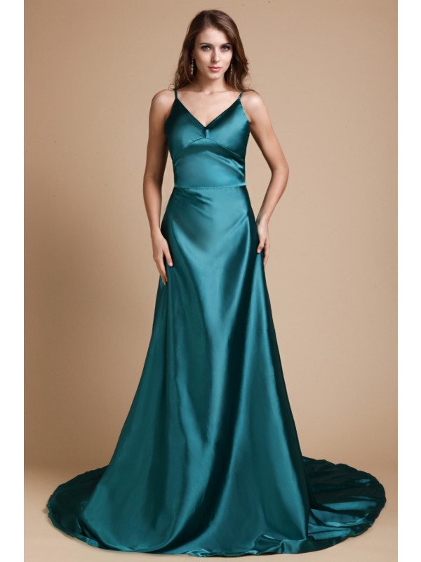A-Line/Princess Ruffles Spaghetti Straps Sleeveless Sweep/Brush Train Elastic Woven Satin Dresses