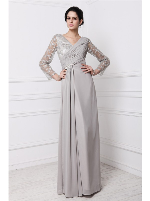 Sheath/Column Lace V-neck Long Sleeves Floor-Length Chiffon Dresses