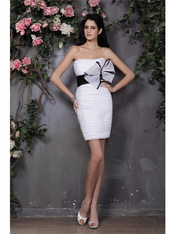 Sheath/Column Bowknot Strapless Sleeveless Short/Mini Organza Dresses