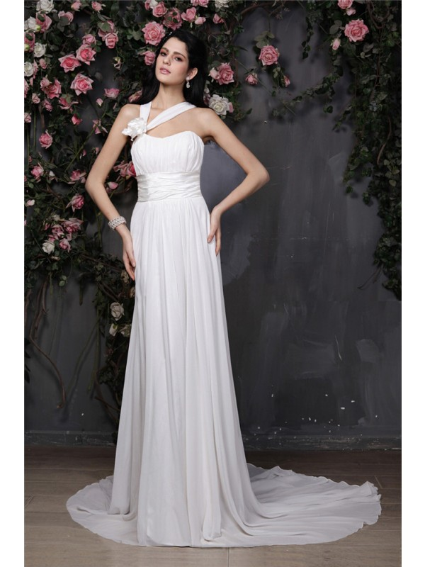 Sheath/Column Hand-Made Flower Halter Sleeveless Chapel Train Chiffon Wedding Dresses