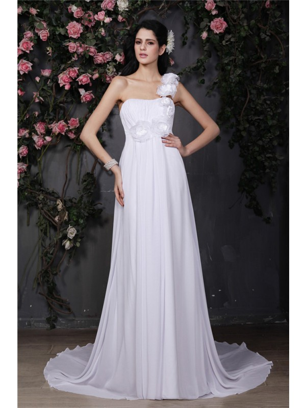 A-Line/Princess Ruffles One-Shoulder Sleeveless Chapel Train Chiffon Wedding Dresses