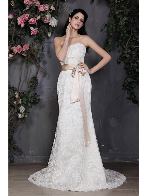 Sheath/Column Sash/Ribbon/Belt Strapless Sleeveless Court Train Lace Wedding Dresses