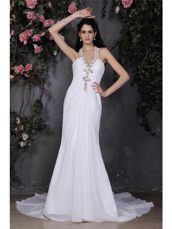 Sheath/Column Beading Halter Sleeveless Court Train Chiffon Wedding Dresses