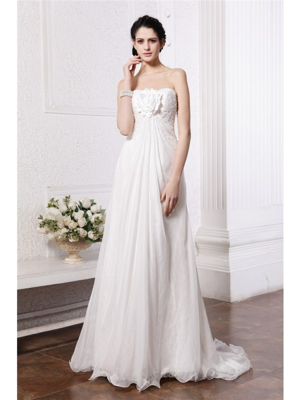A-Line/Princess Beading Strapless Sleeveless Sweep/Brush Train Chiffon Wedding Dresses