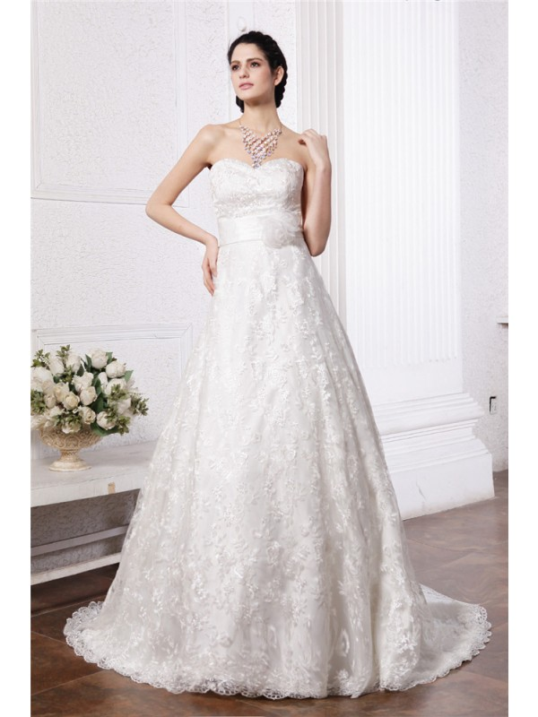 A-Line/Princess Sash/Ribbon/Belt Sweetheart Sleeveless Chapel Train Lace Wedding Dresses