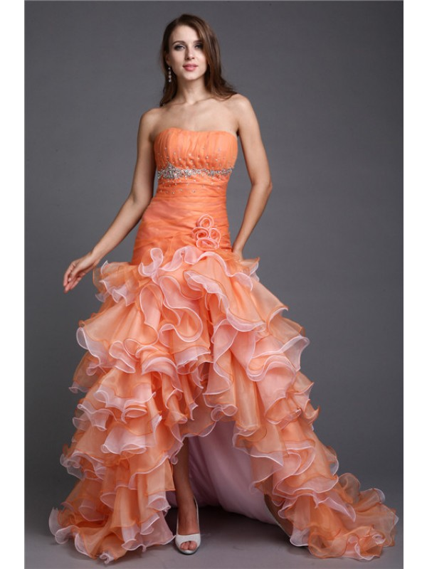 Ball Gown Beading Strapless Sleeveless Asymmetrical Organza Dresses