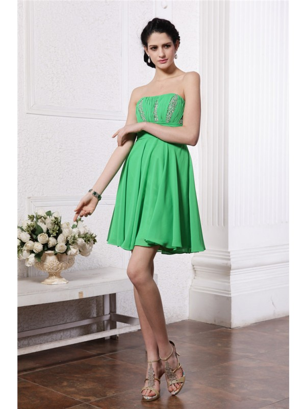 Sheath/Column Beading Strapless Sleeveless Short/Mini Chiffon Dresses